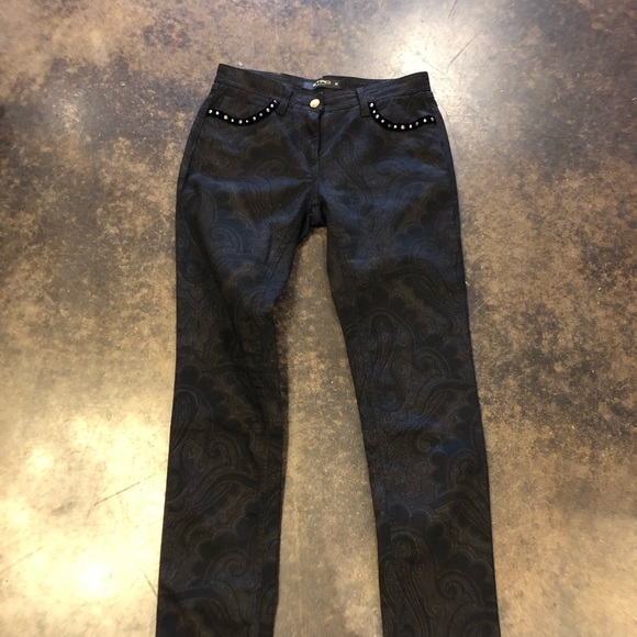 Etro Denim - Etro Black brown midrise paisley jeans 27 XS